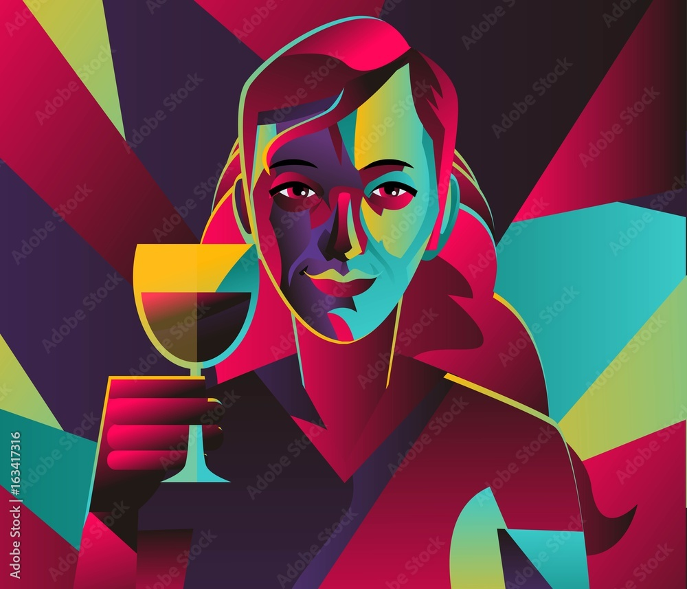 cubist colorful girl drinking wine