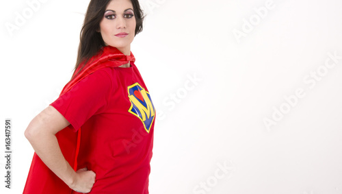 Photo  Proud Mom Superhero Mother Red Cape Modern Hero Chest Crest