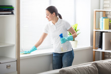 Woman Cleaning The Window Sill With Rag