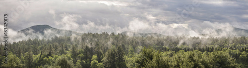 Fog on Green Mountains - Panoramic Canvas-taulu