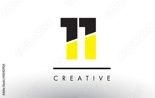 Fotografia  11 Black and Yellow Number Logo Design.