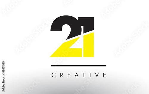 Fotografia 21 Black and Yellow Number Logo Design.