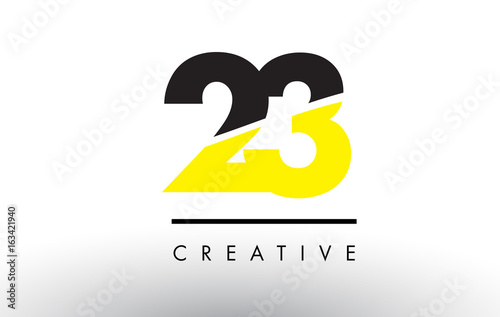 Papel de parede  23 Black and Yellow Number Logo Design.