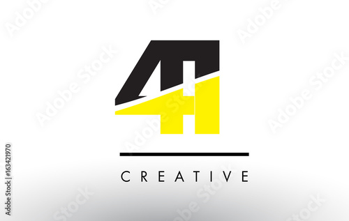 Tela  41 Black and Yellow Number Logo Design.