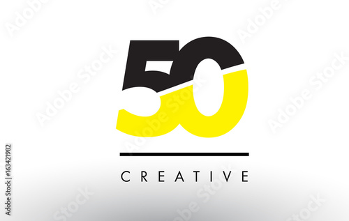Photo  50 Black and Yellow Number Logo Design.