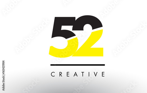 Fotografía 52 Black and Yellow Number Logo Design.