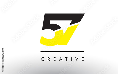 Photo  57 Black and Yellow Number Logo Design.