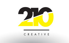 210 Black And Yellow Number Logo Design.