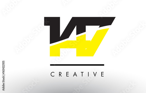 Cuadros en Lienzo 147 Black and Yellow Number Logo Design.