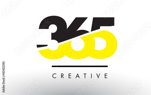Vászonkép  365 Black and Yellow Number Logo Design.