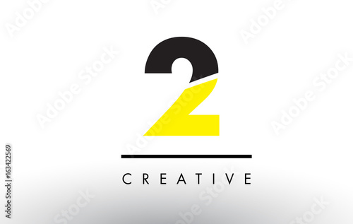 2 Black and Yellow Number Logo Design.