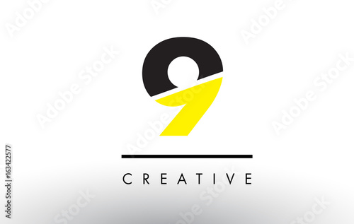 Papel de parede  9 Black and Yellow Number Logo Design.