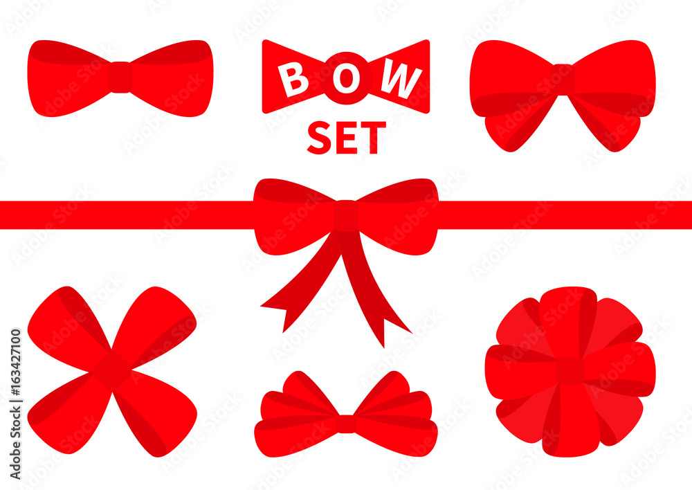 Fototapeta Big red ribbon Christmas bow icon set. Decoration element for giftbox present. White background. Isolated. Flat design.