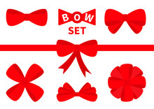 Big Red Ribbon Christmas Bow Icon Set. Decoration Element For Giftbox Present. White Background. Isolated. Flat Design.