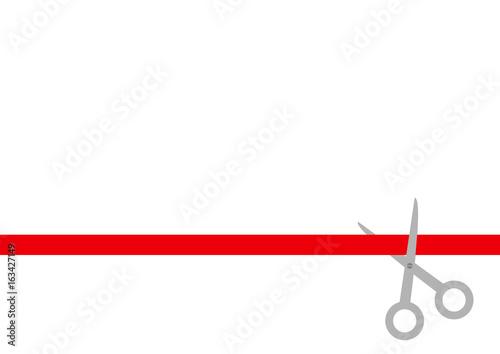 Fotografia  Scissors cut straight red ribbon