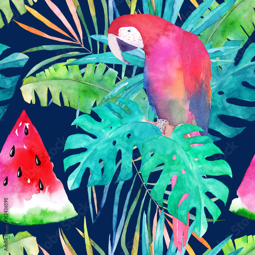 Summer pattern with watercolor parrot, palm leaves and watermelon. Colorful illustration