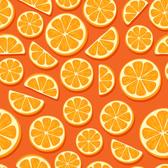 Orange slices seamless pattern.
