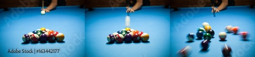 Blue billiard table with colorful balls, beginning of game, slow motion, soft fo Tablou Canvas