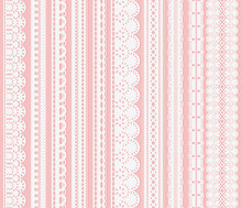 Set Of Seamless Lattice Borders. Ten White Lace Ribbons Isolated On Pink Background.