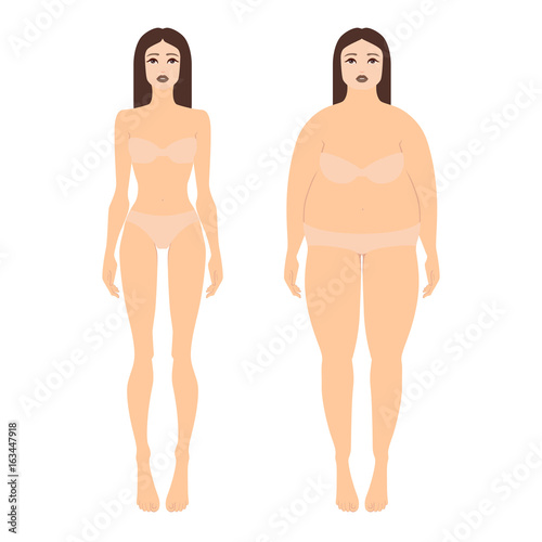 a694520023a Vector illustration of two women with different figures in underwear. Female  full body shape in flat style