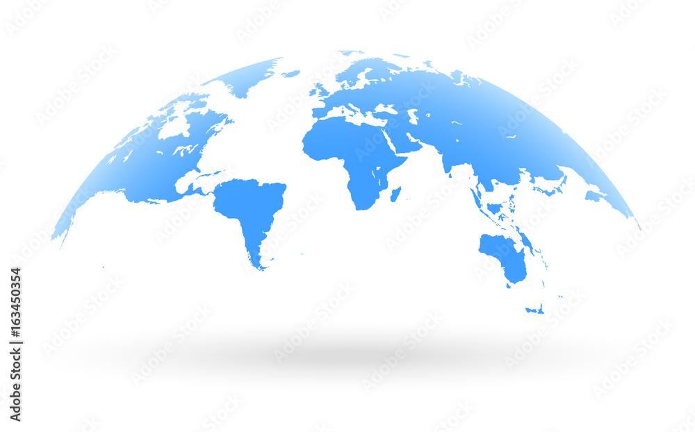 Fototapety, obrazy: blue world map globe isolated on white background