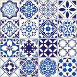 Fototapeta Kuchnia - Vector tile pattern, Lisbon floral mosaic, Mediterranean seamless navy blue ornament
