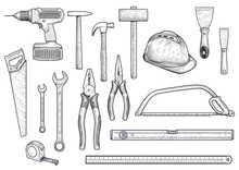 Collection, Building, Repair, Tools Illustration, Drawing, Engraving, Line Art, Vector