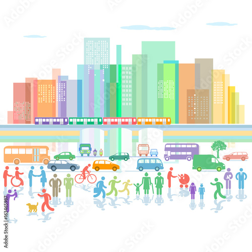 Fototapety, obrazy: Großstadt Panorama mit Straßenverkehr und Fußgänger