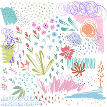 Set Of Scribble vector textures and doodle floral Elements.