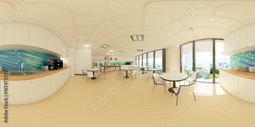 Fotografia  3d illustration spherical 360 vr degrees, a seamless panorama of the room and in