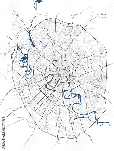Obraz na plátně vector map of the city of Moscow, Russia