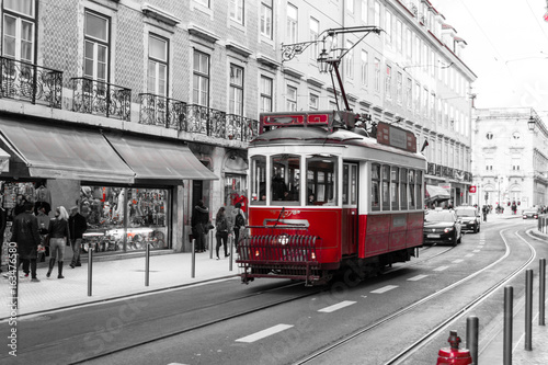 Red tram in Lisbon (Portugal)