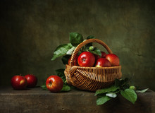 Still Life With Apples In A Ba...