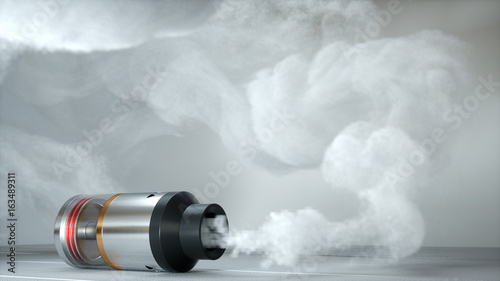 Rebuildable dripping atomizer in vape clouds. 3d render Canvas Print