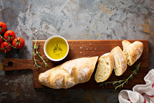 Homemade Baguette With Olive Oil And Salt