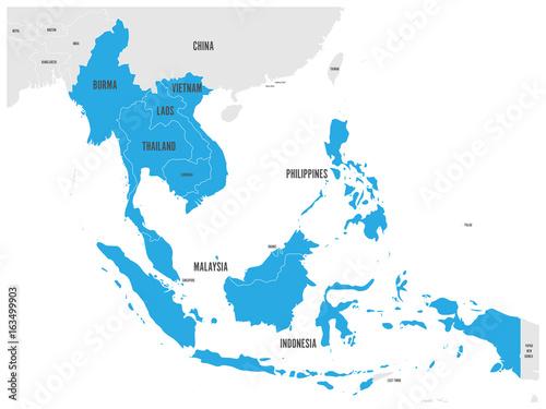 Cuadros en Lienzo ASEAN Economic Community, AEC, map