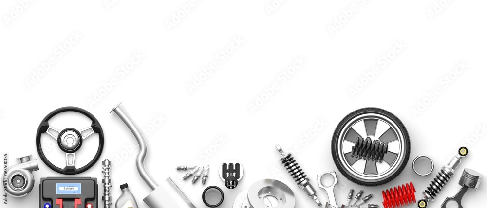 Fototapeta Various car parts and accessories on white background. 3d illustration
