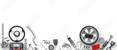 Various car parts and accessories on white background. 3d illustration - 163500355