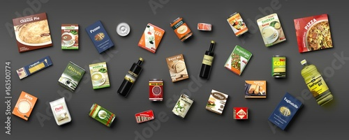 Collection of packaged food on grey background. 3d illustration - 163500774
