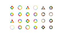 Big Set Of Minimal Geometric Multicolor Symbol Set Shapes. Trendy Icons And Logotypes. Business Signs Symbols, Labels, Badges, Frames And Borders