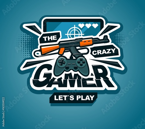 Gamer logo cool vector print or sticker illustration creative design