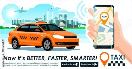 Taxi app banner  City skyline modern buildings hi-tech