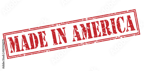Made in america red stamp on white background Poster