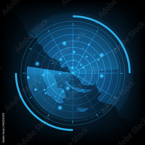 Cuadros en Lienzo  Blue radar screen with map