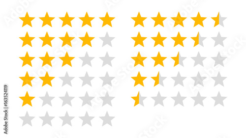 Canvastavla  Product rating or customer review with gold stars and half star flat vector icon