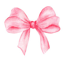 Watercolor Pink Bow. Hand Pain...