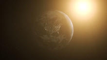 Realistic Earth At Night And Sun Flares Around North America