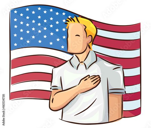 Photo Man Pledge Of Allegiance Flag Illustration