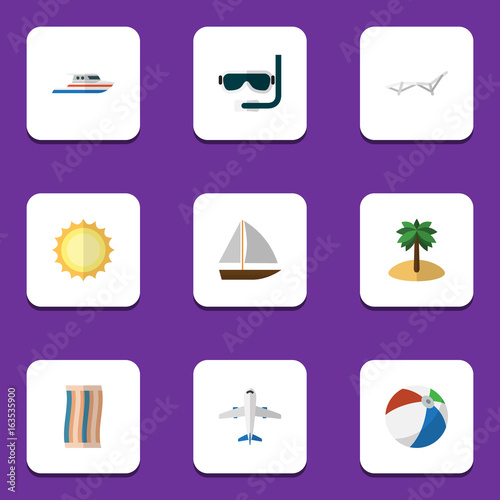 Flat Icon Season Set Of Boat, Deck Chair, Yacht And Other Vector Objects. Also Includes Aircraft, Sunshine, Sun Elements.