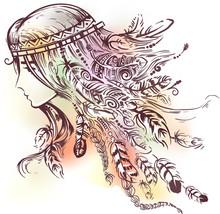 Girl Sketch Boho Design Illust...